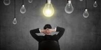 Business person having bright idea