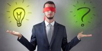 Covered eye businessman with bulb and question sign symbols arou